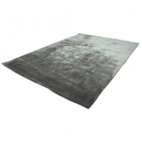 tapis en soie madurai gris anthracite