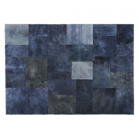 tapis en laine patch blue bleu