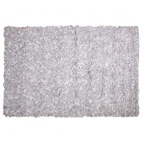 tapis shaggy cuir blanc et gris