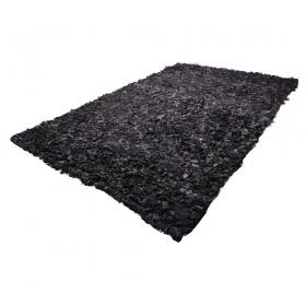 tapis shaggy cuir noir