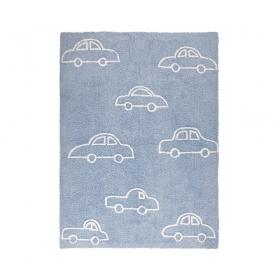 tapis enfant coches bleu lorena canals