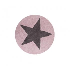 tapis enfant réversible round marron etoile rose lorena canals