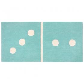 tapis enfant bleu domino 3/2 1 pied sur terre