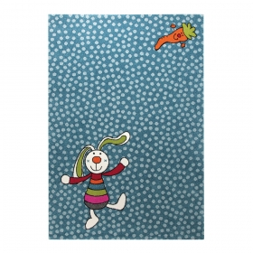 tapis enfant rainbow rabbit bleu sigikid