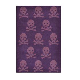 tapis enfant en laine skull violet lorena canals