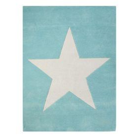 tapis enfant en laine star bleu turquoise lorena canals