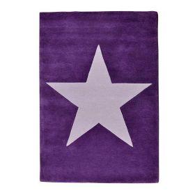 tapis enfant laine star violet et gris - lorena canals