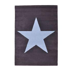 tapis enfant laine star anthracite et bleu - lorena canals