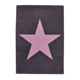 tapis enfant laine star anthracite et rose - lorena canals