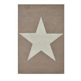tapis enfant laine star beige et blanc - lorena canals