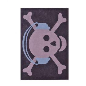 tapis enfant en laine skull headphones bleu lorena canals