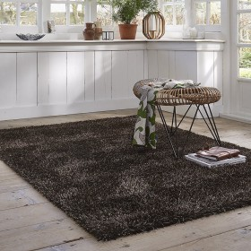 tapis esprit home shaggy cosy glamour marron
