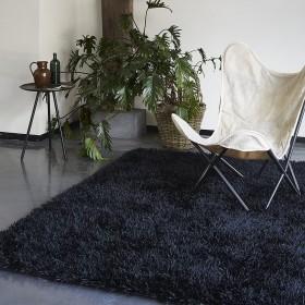 tapis shaggy esprit home cool glamour noir