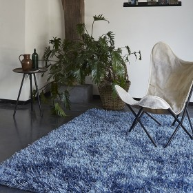 tapis cool glamour shaggy bleu esprit home
