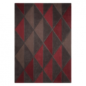 tapis taupe et rouge esprit home triangle