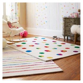 tapis blanc et bleu esprit home joyful stripes