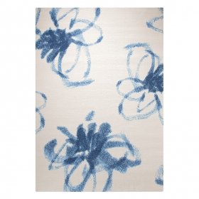 tapis graphic flower blanc et bleu esprit home