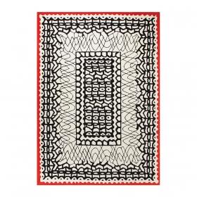 tapis esprit home oriental noir et blanc