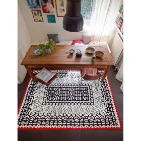 tapis carré oriental noir et blanc esprit home