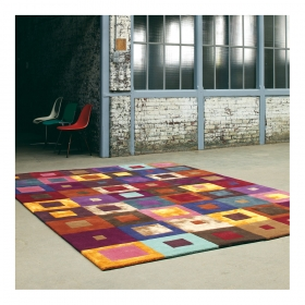 tapis multicolore brink & campman estella carre pure laine