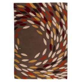 tapis moderne rouge et ocre swirl flair rugs