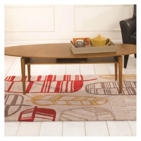 tapis flair rugs fossil leaf rouge