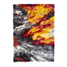 tapis shaggy orange lava flair rugs