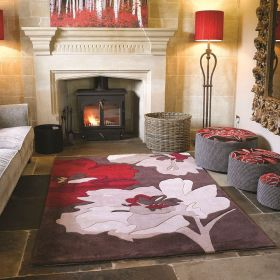 tapis tufté main marron et rouge bloom flair rugs