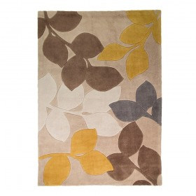 tapis flair rugs stencil leave gris