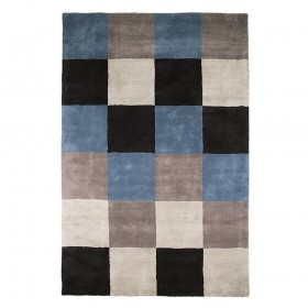 tapis flair rugs check bleu et gris