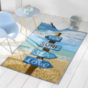 tapis beach sign bleu et multicolore flair rugs