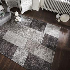 tapis flair rugs patchwork chenille noir et gris
