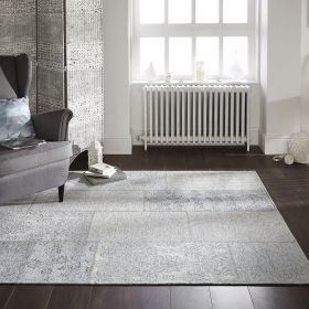 tapis gris patchwork chenille flair rugs