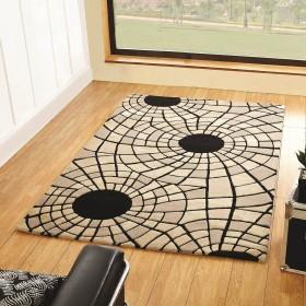 tapis en laine fait main noir et beige radiate flair rugs