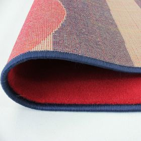 tapis moderne bleu et rouge heart stripe flair rugs