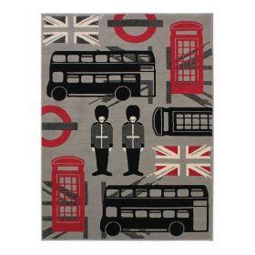 tapis london rouge et noir flair rugs