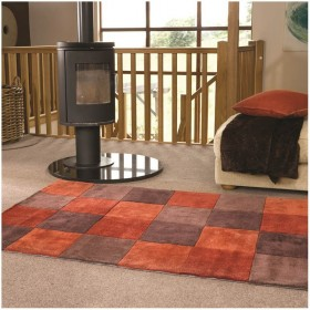 tapis flair rugs squared orange