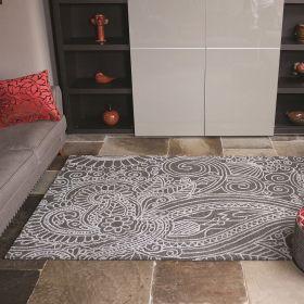 tapis moderne gris mendhi flair rugs