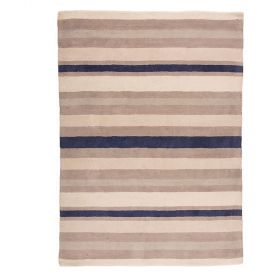 tapis rayé ivoire et bleu cotton stripe flair rugs