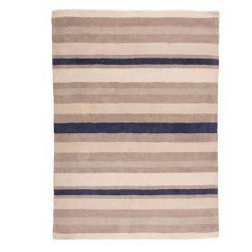 tapis rayé ivoire et bleu cotton stripe flair rugs