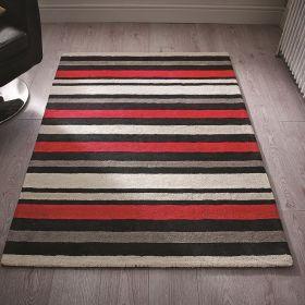 tapis rayé noir et rouge cotton stripe flair rugs