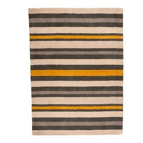 tapis rayé noir et or cotton stripe flair rugs