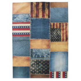 tapis patchwork bleu et rouge american patchwork flair rugs