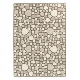 tapis laine tufté main beige vitalize ligne pure