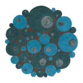 tapis vitalize laine tufté main ligne pure bleu