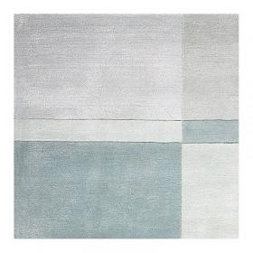 tapis laine tufté main bleu love ligne pure