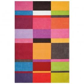 tapis laine ligne pure love tufté main mutlicolore géométrique