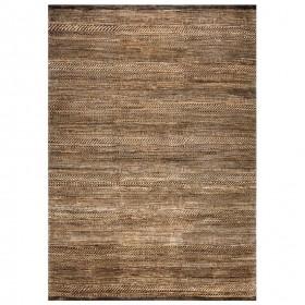 tapis laine noué main marron reflect ligne pure