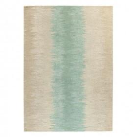 tapis laine tufté main beige vert reflect ligne pure