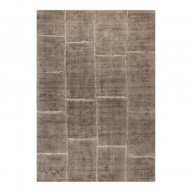 tapis ligne pure viscose tissé main taupe reflect